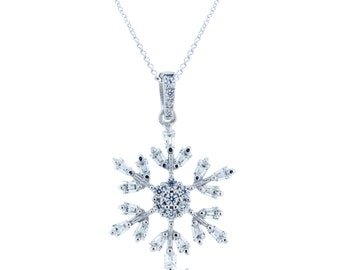 925 Sterling Silver Snowflake Pendant with Chain – 2.88 CT.TW (S272)