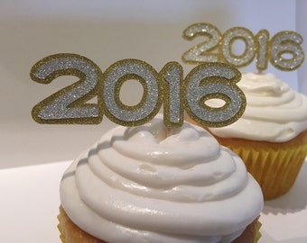 2018 Glitter New Years Cupcake Topper