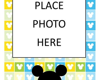 12 month mickey photo banner, mickey photo garland, monthly photo bunting, photo display, First Birthday photo, twelve months photo flags