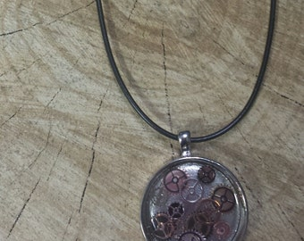 Gears Resin Pendant and Necklace