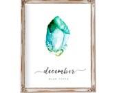 Nursery Wall Art, Birthstone Art, December, Baby Gift, Birthstone Print, Birthday Art, Gemstone Art, Blue Topaz Art, Watercolor