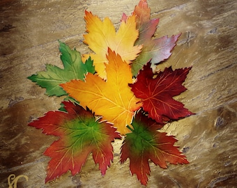 Maple Leaf leather (2 sizes to choose) - Clip accessory clamp for hair
