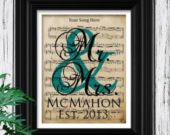 Personalized Mens Gift | Wedding Song Sheet Music |Museum Quality 100% Cotton Fiber Print | Gift For Dad | Husband Father Personalized Gift