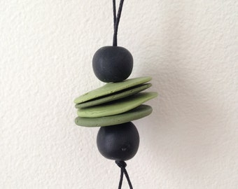Clay Bead Necklace ~ Green & Black