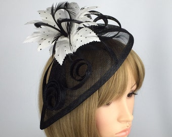 Black Fascinator white sinamay fascinator with loops  and Feather flower Fascinator on Aliceband Hair band Hat Wedding bride prom