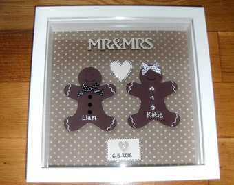 Mr & Mrs Personalised Wedding Gift, Box Frame Picture
