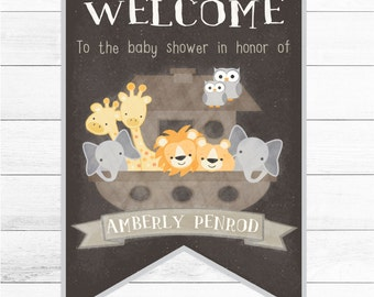 Baby Shower Welcome Sign. Personalized Noah's Ark Welcome Sign