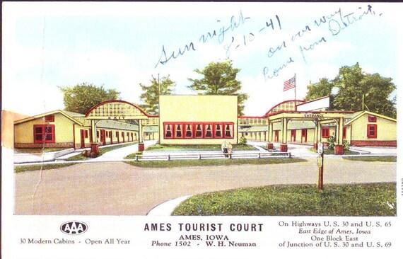 Vintage Postcard ~ Ames Tourist Court ~ Ames Iowa ~ hotel memorabilia, Iowa collectible ~ American epherma, hotel epherma ~ Ames hotel