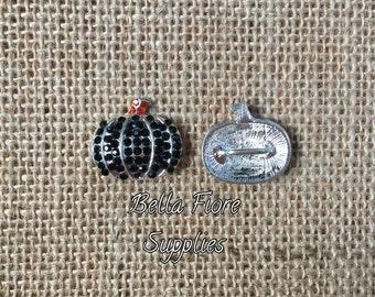 Black Pumpkin Rhinestone Button, Pumpkin Embellishment- Halloween Button- Halloween Embellishment