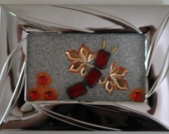 Beaded picture of red and gold bug, framed