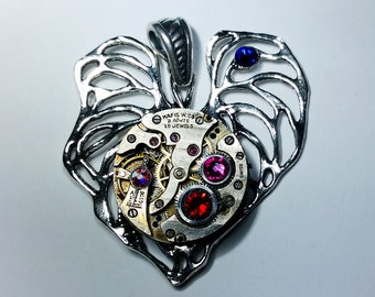 Steampunk Leaf Pendant Featuring a Watch Movement with Swarovski Crystals