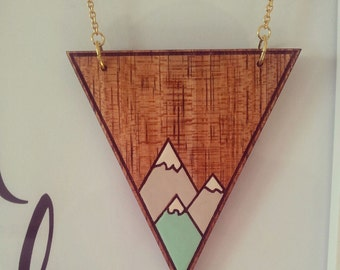 Triangle wood pendant in Minty Mountains