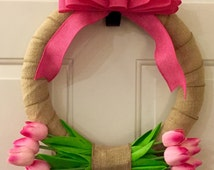 Tulip Wreath, Front Door Wreath, Spring Wreath, Burlap Wreath, Front door decor, Tulip Decor