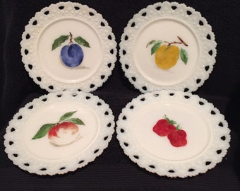 Vintage Set of 7 Kemple Lace Edge Hand Painted Milk Glass Plates