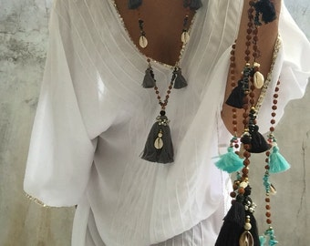 Rudraksha Necklace/stylish,Tassels,beade,shells,yoga,stylish