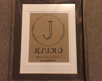 Burlap Name Print with Established Date - Customizable!