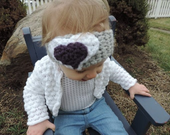 Cochet Heart Headband and Ear Warmer