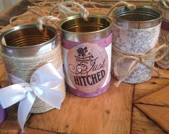 Wedding Decor - Decorated Cans - Purple - Decorations