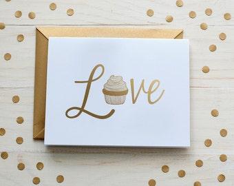Cupcake Love Gold Foil Card, Gold Foil - Blank Card - Gold Foil Card - Cupcake Card - Gold Love Card - Blank Card -