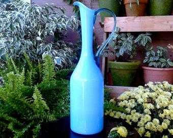 Blue opaline murano glass decorative pitcher vase