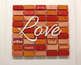 LOVE - wooden blocks wall art