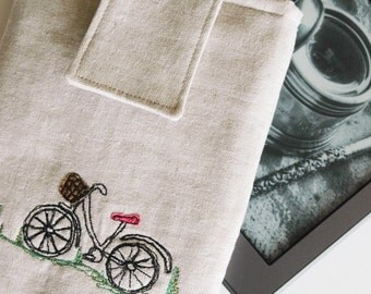 Kindle sleeve cover e-reader case Stitched and Appliquéd Bicycle with flap closure