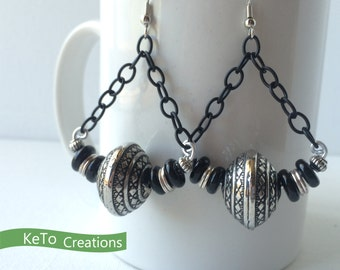 Earrings, Black And Silver Earrings, Black Chain and Bead Earrings, Gothic Looking Earrings, Chunky Earrings