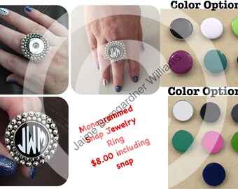 Monogram Snap Jewelry Stretch Ring (ring designed by me and made for me)