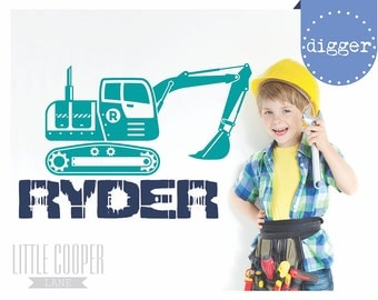 Digger & Name Vinyl Wall Decal Sticker | Large Construction Excavator Truck | Boys Room_For Nursery or Kids Room_ID#1363