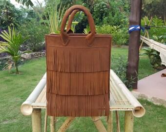 Handmade Leather Tote // Tassel Leather Bag // Handmade Leather Bag // Tassel Tote Bag // Tote Bag