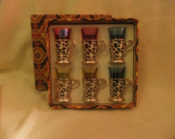 Vintage Cristallerie Artistiche Decorate Glasses Made in Italy Boxed