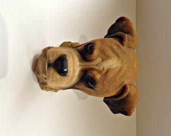 Vintage Sherratt & Simpson Boxer Sculpture, Boxer Dog, Boxer Head, Resin Boxer Bust, Boxer Dog Head, Tactile Boxer Bust, Lifelike Boxer Bust