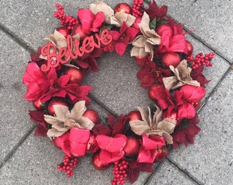 red natural wreath
