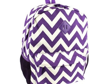Personalized Chevron canvas backpack