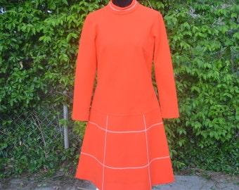 Vintage 60s 70s Orange long sleeve Bleeker Street dress