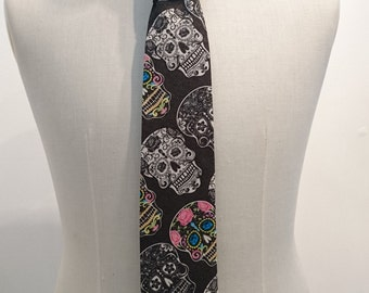 Candy Skull fabric Tie
