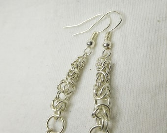 Graduated Silver Byzantine Chainmaille w/ Crystal Beads -style 4012  Chain Maille Chainmail Chain Mail Chain Male, Dangle Earrings