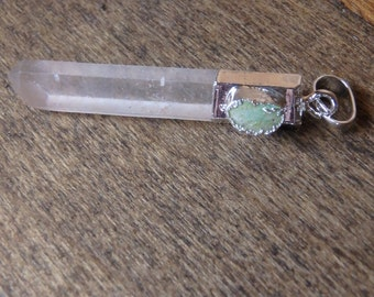 Natural Turquoise & Crystal Wand 925 Silver Necklace