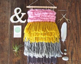 Handwoven Wall Hanging // Pink // Mustard // Grey