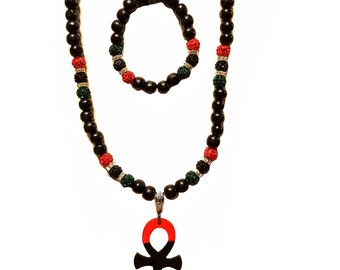RBG Pan-African Necklace Set w/ Ankh Pendant