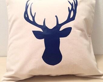 Deer Antler Pillow Cover, Antler Pillow, Rustic Pillow, Rustic Decor, Antler Home Decor, Navy Decor, Navy Pillow Cover, Rustic Deer Recor