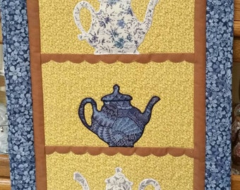 Teapot Blue & White Wall Quilt