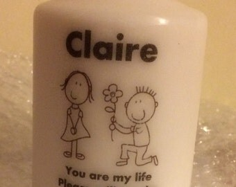 Personalised proposal candle gift favour