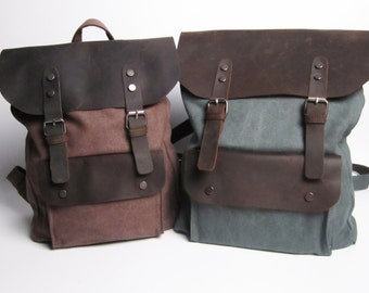 Vintage Style Leather Canvas Backpack