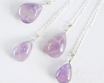 Tear Drop Crystal Necklace Purple Amethyst Pendant Polished Violet Quartz Bridesmaid Necklace Boho Jewelry Gemstone Necklace Indie Necklace