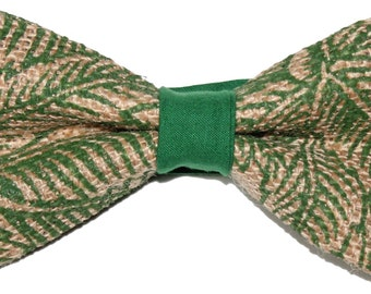 BowTie Burlap Green Tan with Adjustable strap made in the USA.