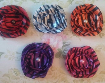 "3"" ZEBRA PRINT Singed SATIN Flowers ~ For Tutus, Bows, Headbands, Clips"