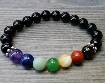 ON SALE!!! Intention, meditation 7 chakkras bracelet, gemstones 8mm