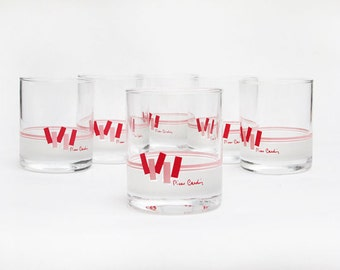vintage 80s Pierre Cardin pink red memphis era rocks glasses