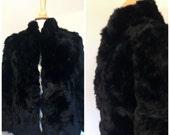 Vintage 80's Beautiful Black Rabbit Fur Coat/Black Satin Lining/Size 8
